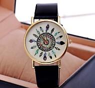 Женские Модные часы Кварцевый PU Группа Винтаж Цветы Черный Белый