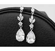 cheap -Cubic Zirconia Drop Earrings - Cubic Zirconia White For