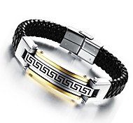 cheap -Men's Bracelet 24 K Greatwall Grain Leather Woven Titanium Steel Products Jewelry Christmas Gifts