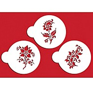 Quatre c couleur pochoirs stencils de café de fleur blanche, 3pcs / set st-315