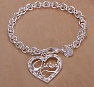 Diamond Heart Shpae 925 Silver Bracelet (1PC)