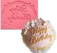 Feliz aniversario em forma de bolo de fondant Chocolate Molde de silicone cor aleatória