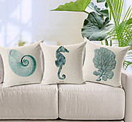 Set of 3 Modern Style Sea Animal Patterned Cotton/Linen Decorative Pillow Cover