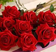 Недорогие -1 Филиал Шелк Пластик Розы Букеты на стол Искусственные Цветы