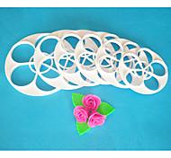 abordables -quatre c coupe de moule à cake, rose feuilles ensemble de coupe de fondant, outils fondantes outils de décoration de gâteaux, 6pcs / set