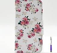 Charming Flowers Pattern PU Leather Case Cover with A Touch Pen ,Stand and Card Holder for Motorola Moto G