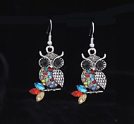 Cute Diamond Owl Silver Alloy Earrings(1 Pair)