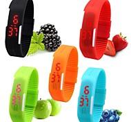 Жен. Спортивные часы Наручные часы Часы-браслет Повседневные часы электронные часы Цифровой LED силиконовый Группа Конфеты Черный Белый