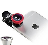cheap -Universal 3 in 1 Cell Phone Camera Lens Kit - Fish Eye Lens / 2 in 1 Macro Lens & Wide Angle Lens / Universal Clip
