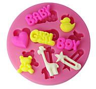 abordables -quatre c gâteau en silicone tasse moule fille de garçon et le bébé sugarpaste moule, outils fondant de fournitures de décoration couleur rose