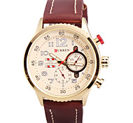 cheap -Man's Quartz Wrist Watch Round Dial Fashion PU Leather Strap (Assorted Colors) Cool Watch Unique Watch