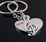 Alloy Lovely Love Note Pendent Couples Key Chains 1 Pair