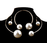 cheap -Women's Pearl Jewelry Set - Pearl, Imitation Pearl Ball Fashion, Elegant, Bridal Include Silver / Golden For Wedding / Party / Birthday / Earrings / Necklace / Oversized