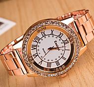 baratos -yoonheel Mulheres Quartzo Simulado Diamante Relógio imitação de diamante Metal Banda Elegant Fashion Prata Dourada Ouro Rose