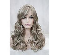 """светло-коричневый микс блондинка вьющиеся 22 """"кожа часть длинной стороне синтетический парик верхняя женская"""