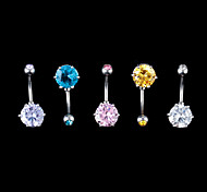 Fashion Stainless Steel Zircon Navel Belly Button Ring Dancing Body Jewelry Piercing(Random Color)