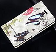 Бабочка цветочный узор искусственная кожа флип защитный чехол с магнитной оснастки и слотом для карт iPhone 5с