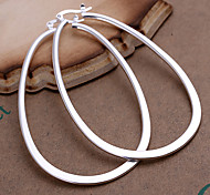 cheap -Women's Silver Plated Hoop Earrings - Statement Fashion Silver Geometric Earrings For Party Daily Casual