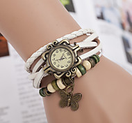 cheap -yoonheel Women's Quartz Bracelet Watch Casual Watch Leather Band Butterfly Bohemian Fashion Black White Brown