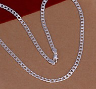 cheap -Men's Women's Shape Fashion Chain Necklace , Silver plated steel Silver Plated Chain Necklace Wedding Party Daily Casual