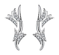 lureme®Fashion Style Silver Plated With Zircon Butterfly Shaped Dangle Earrings