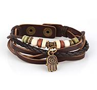 Vilam® Vintage Hamsa Wood Bead Brown Handmade Woven Leather Bracelet Jewelry Christmas Gifts
