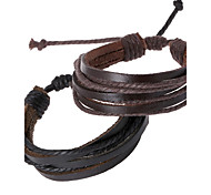 cheap -Men's Unisex Jewelry Chain Personalized Handmade Leather Jewelry Daily Costume Jewelry Black Brown