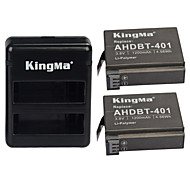 cheap -KingMa® 2pcs Rechargebale AHDBT-401 Battery 1200mAh+Dual USB Charger for Gopro Hero 4 Black Siler Camera Battery