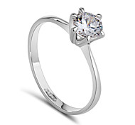 Platinum Plated Classic Simple Design 6 Prong Sparkling Solitaire 1ct Zirconia Diamond forever Wedding Ring