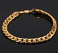 U7® Men's 18K Chunky Gold Filled Figaro Cuban Chain Bracelet 7MM 21CM Jewelry Christmas Gifts