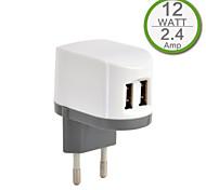 CE certifié double chargeur usb mur, prise Europe, la production de 2..4a 5v, pour l'iphone 5 iphone 6 / plus, l'air ipad, ipad mini,