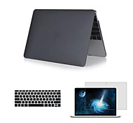 "cheap -Case for MacBook 12"" with Retina display Solid Color Plastic Material Matte 3 in 1 Full Body Case with Keyboard Cover and HD Screen Protector"