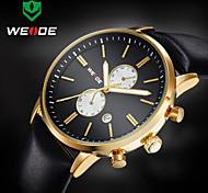 Недорогие -WEIDE Муж. Наручные часы Кварцевый Японский кварц Календарь Защита от влаги Кожа Группа Роскошь Черный