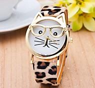 cheap -Women's Fashion Watch Cat Watch PU Band Leopard / Cartoon Black / White / Blue