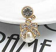 bowknot pearl zircon 3.5mm пылезащитная штепсельная вилка для iphone 8 7 samsung galaxy s8 s7 sumsung