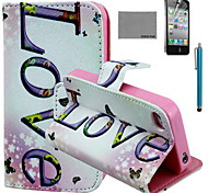 COCO FUN® Horizontal Love Pattern PU Leather Case with Screen Protector and USB Cable and Stylus for iPhone 4/4S