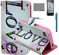 Coco fun® padrão de amor horizontal estojo de couro pu com protetor de tela e cabo USB e caneta para iPhone 4 / 4S