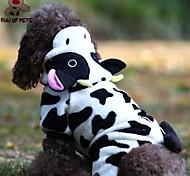 Gatti Cani Costumi Felpe con cappuccio Tuta Nero Bianco Abbigliamento per cani Inverno Primavera/Autunno Fantasia animaleDivertente