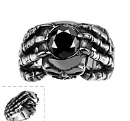 Maya Classical Individual Unique Hold Cubic Zirconia with Hands Stainless Steel Man Ring(Black)(1Pcs)