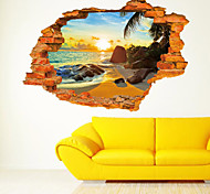 3D Wall Stickers Wall Decals Style Beach Sun Fashion Creative PVC Wall Stickers