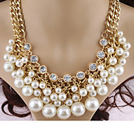 cheap -Women's Cross Pearl Imitation Diamond Pearl Necklace Layered Necklace Statement Necklace  -  Multi Layer White Necklace For Party