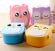 Cute Cartoon Owl Lunch Box Food Container Portable Bento Storage Box