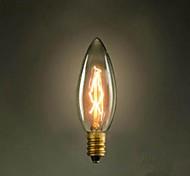 Недорогие -C35 сжечь заостренный пузырь маленький желтый свет лампы E14 220 Эдисон винт источник света ретро
