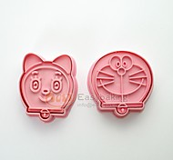 cheap -Cute Cartoon Animal 3D Biscuit Mold Doraemon Pokonyan Cookie Cutters and Stamps
