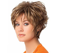 cheap -Synthetic Hair Wigs Wavy Pixie Cut With Bangs Carnival Wig Halloween Wig Short Blonde
