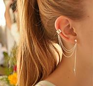 cheap -Women's Clip Earrings - Personalized Tassel White Golden Earrings For