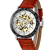 cheap -Men's Automatic self-winding Mechanical Watch Wrist Watch Hollow Engraving PU Band Luxury Brown