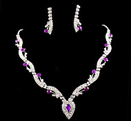 cheap -Women's Jewelry Set Gemstone & Crystal Cubic Zirconia Silver Plated Imitation Diamond Alloy Cute Party Love Earrings Necklaces Costume