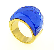 Fashion Multi-Color Big Stone Cutting 316L Stainless Steel Gold Plated Band Ring 1pc