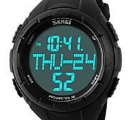 SKMEI Hombre Reloj Deportivo Reloj de Pulsera Digital LCD Calendario Cronógrafo Resistente al Agua alarma Reloj Deportivo PU Banda De Lujo